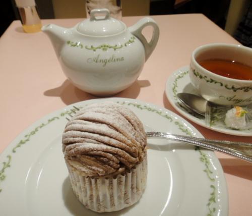 サロンドテアンジェリーナ松山のモンブランと紅茶のセット