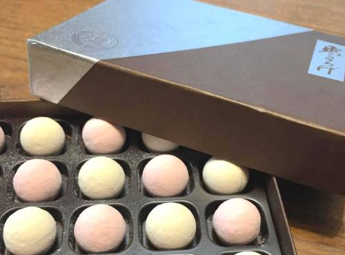淡い紅白の球体の干菓子、塩芳軒「雪まろげ」。