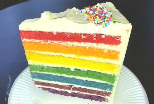 英国でも馴染みのある、原色系のバタークリームレインボーケーキ。
