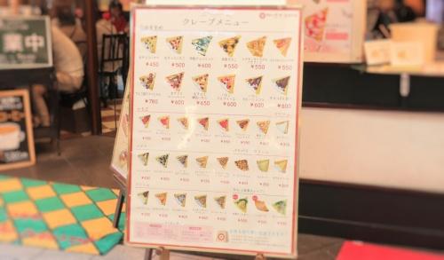 クレープドココリコのメニュー看板。全36種類。