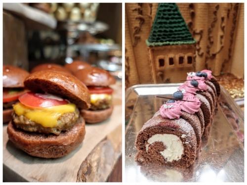 チョコが練りこまれたミニハンバーガーと、ロールケーキ。