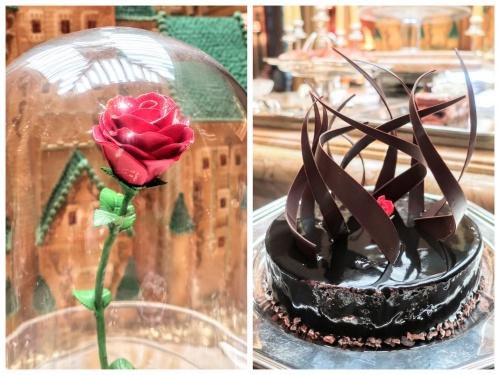 美女と野獣の世界を表現したオブジェのバラと濃厚なチョコレートケーキ。